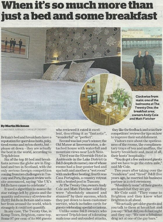 The Twenty One in Brighton in the news