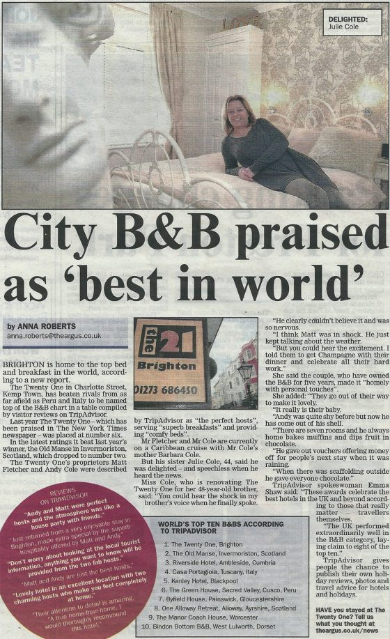 The Twenty One B&B Brighton in the news